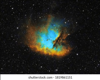 The Pacman Nebula (NGC 281), a bright emission nebula and H-alpha region located in the constellation Cassiopeia, 9500 light years away from Earth