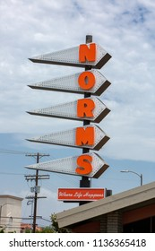 Pacoima, CA/USA.  July 17, 2018. The exterior of Norms Restaurant. A casual dining Southern California tradition, Norms has been the go-to neighborhood destination since 1949.
