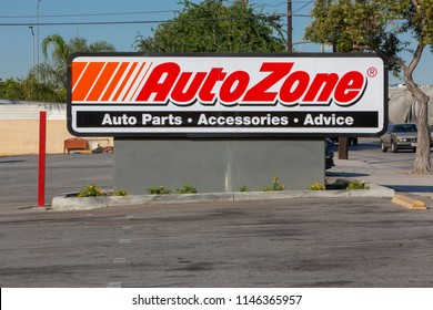 Pacoima, CA/USA. July 31, 2018. AutoZone storefront sign. Autozone is the second-largest aftermarket automotive parts and accessories retailer in the United States.