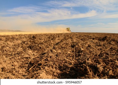 PACOV, CZECH REPUBLIC - August 15, 2015: Application of liquid slurry into barley stubble, preparing field for spring sowing of corn and soybeans, Claas tractor with big tank and tillage tool