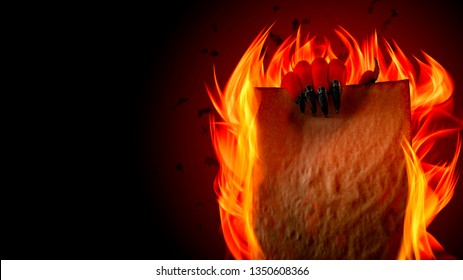 Pact to sell your soul to Lucifer, strike a Faustian bargain or deal with the devil concept theme with Satan holding in creepy ugly red hand with pointy claws a blank burning scroll with copy space
