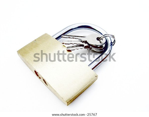 Pad lock and keys isolated on white background