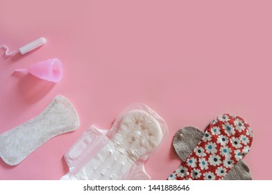 Pad, menstrual cup, tampon, fabric handmade pads. Concept of critical days, menstruation