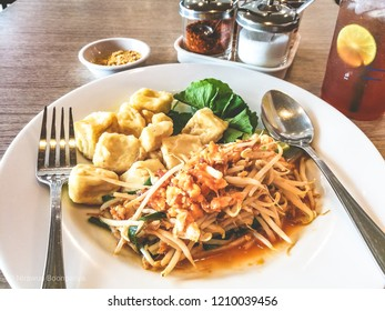 Pad Thai egg tofu with fresh bean, vegetarian food and healthy Padthai. the most popular Thai food and delicious. local traditional food.