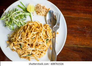 Pad Thai food on the wood table.