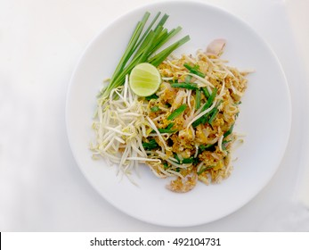 Pad Thai noodles - Thai food style ,Pad Thai, stir-fried rice noodles with  tofu. The one of Thailand's national main dish. the popular food in Thailand. Thai Fried Noodles, Vegetarian Food,