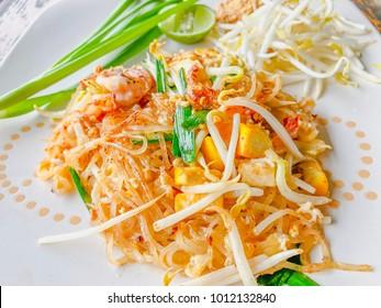 Pad Thai is original Thai noodle shrimp. Popular food in Thailand. Tip samai