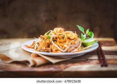 Pad Thai, Phad Thai, Asian Cuisine, noodles, food on the table, stir fried, table cloth, cooking, chopsticks, main dish