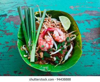 Pad Thai Shrimp in a banana leaf.