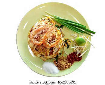 Pad Thai Shrimp top view with white background