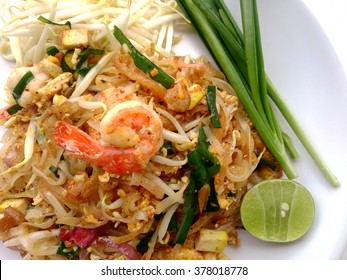 Pad Thai, stir-fried rice noodles with shrimp. The one of Thailand's national main dish. the popular food in Thailand. Thai Fried Noodles