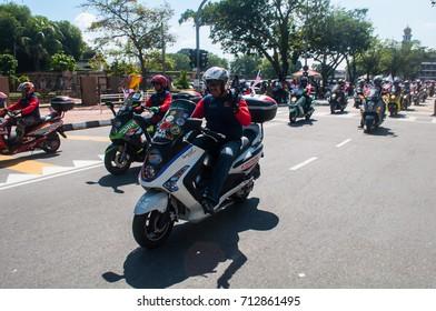 Padaang Kota Lama, MALAYSIA - 31ST AUGUST 2017; People of Malaysia taking part in Merdeka Day, a celebration of Malaysia's Independence Day at Padaang Kota Lama, MALAYSIA