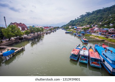 Padang, Indonesia : Beautiful View of Batang Arau River from Siti Nurbaya Bridge, a famous landmark in Padang, west Sumatera, Indonesia (10/2018).