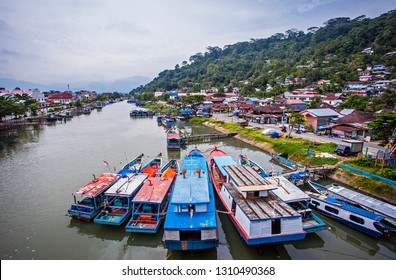 Padang, Indonesia : Beautiful View from Siti Nurbaya Bridge, a famous landmark in Padang, west Sumatera, Indonesia (10/2018).
