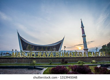 Padang, Indonesia : The Great Mosque of West Sumatera, the biggest mosque in West Sumatera, with a unique design and architecture that inspired by traditional house of West Sumatran people (10/2018).