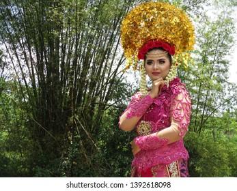Padang, West Sumatera / Indonesia - Maret 23, 2019: Padang Wedding Clothes, Sumatera, Indonesia,