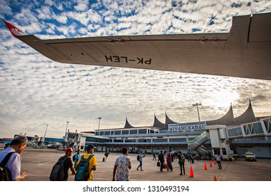 Padang, West Sumatera, Indonesia : Passengers in Minangkabau Airport, international airport in Padang with traditional design building that inspired by minang people (10/2018).