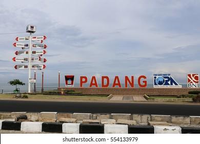 PADANG, WEST SUMATRA, INDONESIA, AUGUST, 2016: Padang signboard at Muaro Lasak beach in West Sumatra, Indonesia