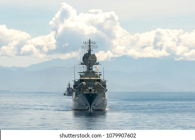 PADANG,INDONESIA - APRIL 11, 2016: HMAS Anzac (FFH 150), ANZAC class frigate of Royal Australian Navy sails in the sea among the other navies participating in Multilateral Naval Exercise Komodo 2016.