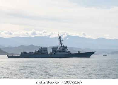 PADANG,INDONESIA - APRIL 16, 2016 : USS Stockdale (DDG-106) US Navy destroyer sails in Padang bay during Multilateral Naval Exercise Komodo 2016.