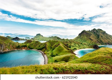 Padar Island, Komodo National Park in East Nusa Tenggara, Indonesia. Amazing marine seascape with mountains and rocks