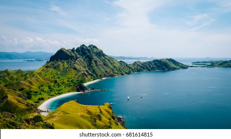 Padar Island in Komodo National Park in Indonesia. View from the Top of the Viepoint.