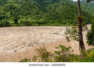 Padas River seen from Sabah State Railway enroute through the Padas River Valley from Beaufort to Tenom in Sabah, Malaysia