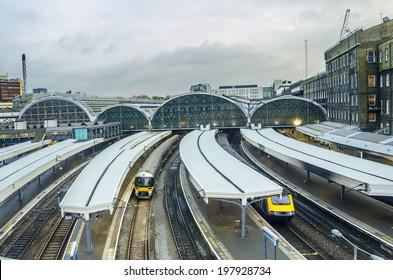 Paddington Station. Trains awaiting departure.