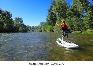 Paddle boarding the Boise River, Idaho