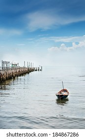 paddle boat and bridge fishing pier landscape