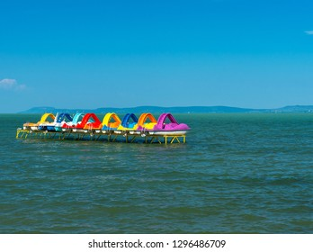 Paddle boats at lake Balaton