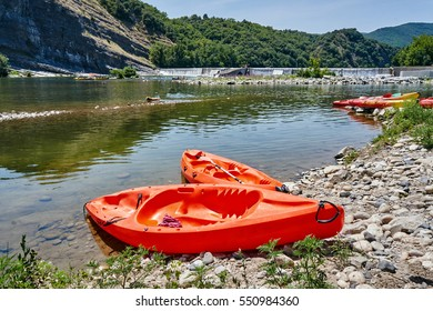 Paddle boats at the threshold of the river Ardeche in France