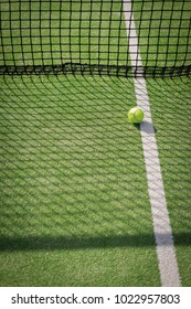 Paddle tennis court and net with a ball