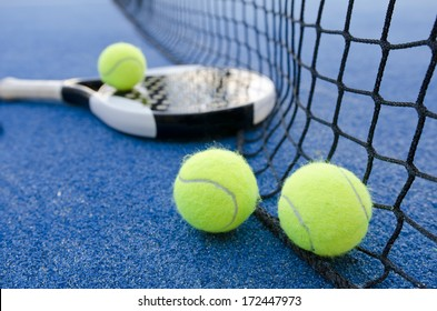 paddle tennis objects ion artificial turf ready for tournament