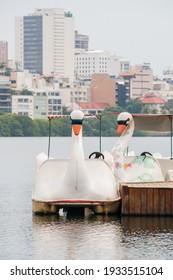 paddleboat from rodrigo de freitas lagoon in Rio de Janeiro Brazil.