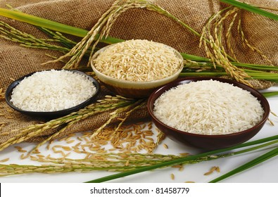 paddy rice,brown rice,white rice and japanese rice on sack background