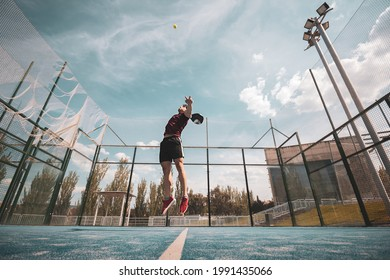 padel player playing a match in the open