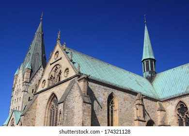 paderborn cathedral under blue sky