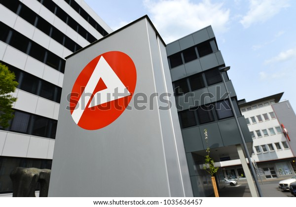 Paderborn, North Rhine-Westphalia / Germany - April 29, 2015: Logo of a Job Center, the state owned employment agency in Paderborn, Germany
