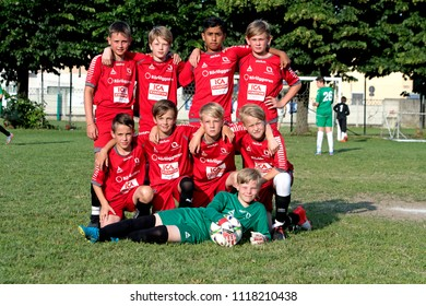 PADERNO DUGNANO, ITALY-JUNE 09, 2018: team photo during the european soccer children match between Italian and Swedish teams, at the Oratorio's soccer field, in Paderno Dugnano, near Milan.