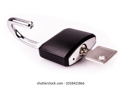 Padlock Black With Key - Isolated