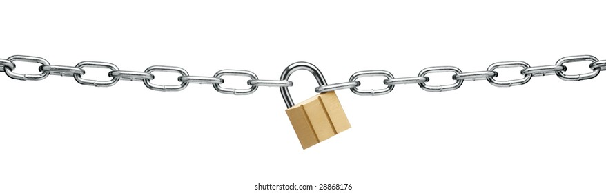 padlock and chain isolated on white background