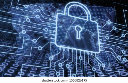 Padlock cyber security information privacy protection concept