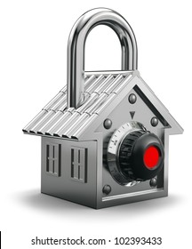 Padlock having the shape of a house, home security concept