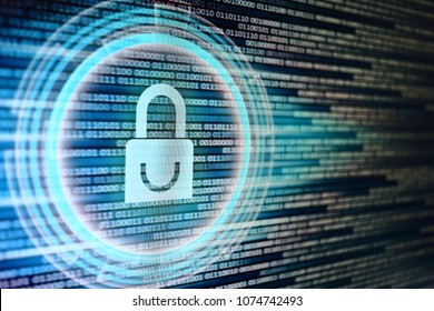padlock icon on LED computer display screen with binary code moving in the background. password and data privacy protection in internet data transfer concepts. cyber network security blue color.