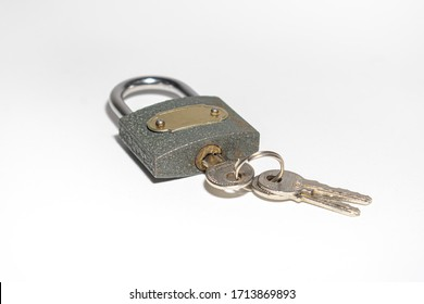 Padlock iron lock for the door on a white background