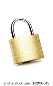 Padlock isolated on white background with natural shadow