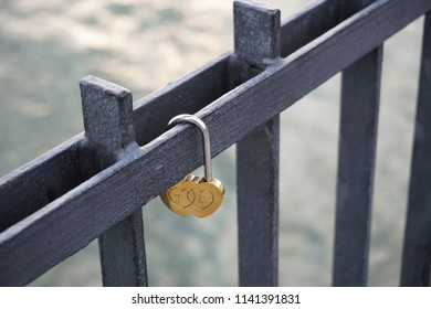 Padlock of love on a pier in miedzyzdroje, love, romance, romantic symbol
