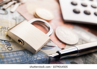 Padlock and money. Concept money security