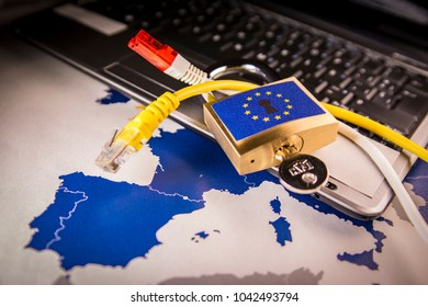 Padlock and net cable over a laptop and a EU map, symbolizing the EU General Data Protection Regulation or GDPR. Designed to harmonize data privacy laws across Europe.